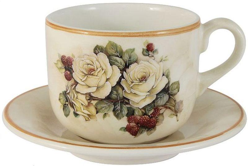 """Чашка с блюдцем LCS """"Роза и малина"""", 500 мл"""