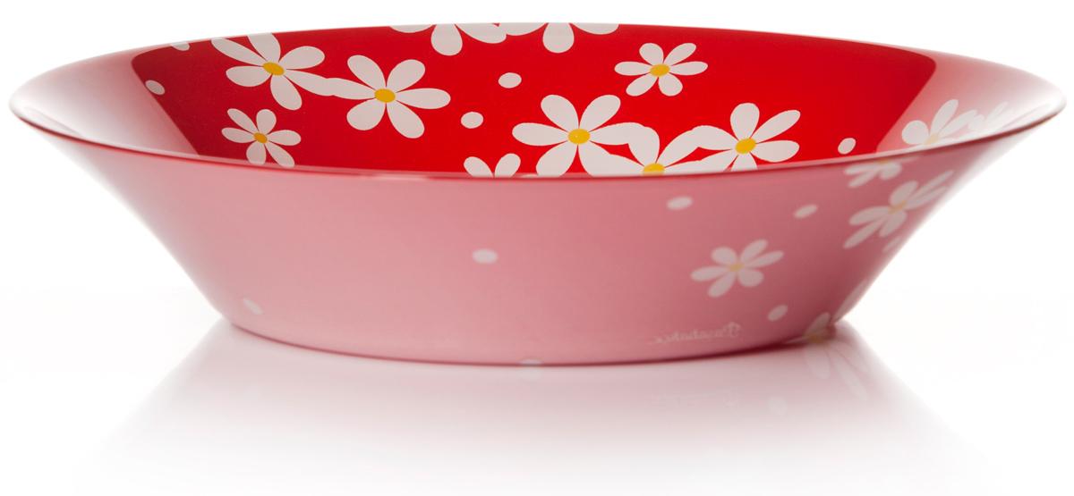 Тарелка глубокая Pasabahce Рэд гарден, цвет: красный, диаметр 22 см10335SLBD18Тарелка красного цвета рисунок - ромашки, d=220 мм