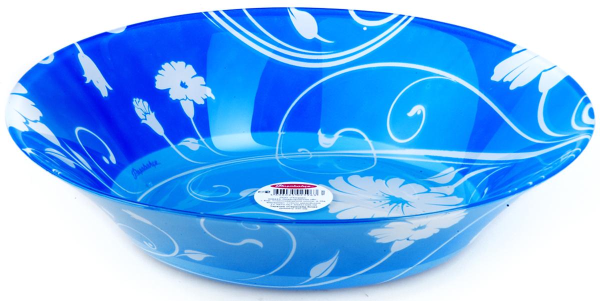 Тарелка Pasabahce Блю серенейд, цвет: синий, диаметр 22 см10335SLBD2Тарелка из закаленного стекла СЕРЕНЕЙД d=220 мм h=45мм (на синем фоне белые цветы)