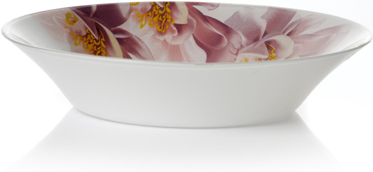 Тарелка глубокая Pasabahce Уотер лили, цвет: белый, диаметр 22 см pasabahce