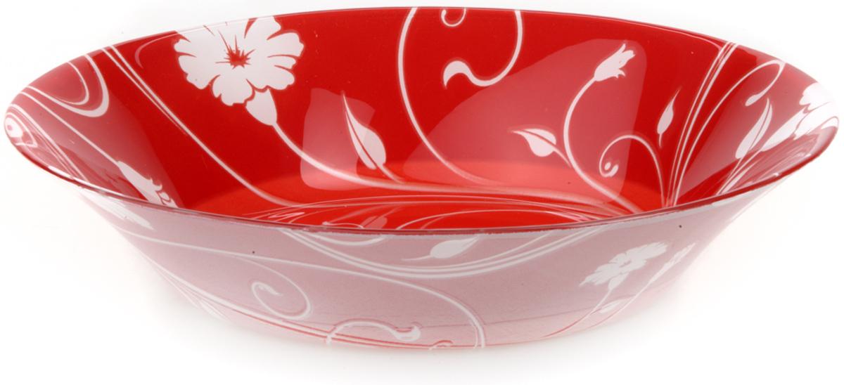 Тарелка из закаленного стекла SERENADE d=220 мм (на красном фоне белые цветы)