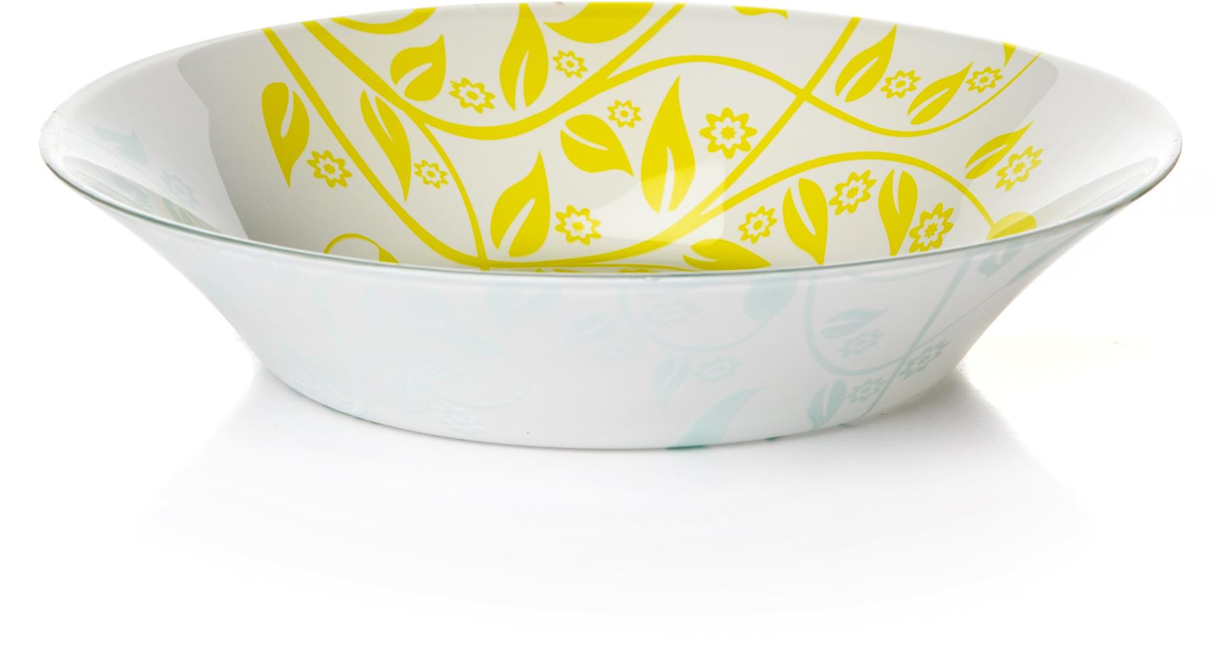 Тарелка глубокая Pasabahce Ясемин, цвет: зеленый, диаметр 22 см chkj глубокая оливковая 42 мм