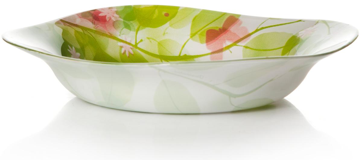 Тарелка глубокая Pasabahce Баттерфлайс, цвет: белый, диаметр 21,5 см