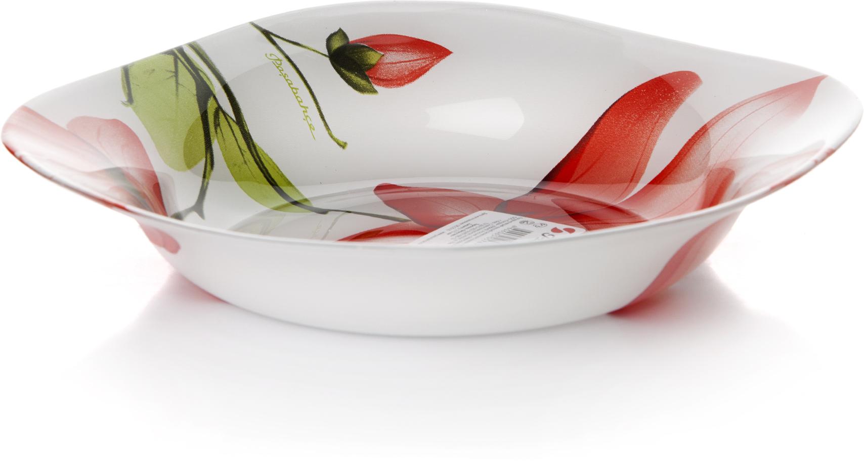 Тарелка глубокая Pasabahce Экзотик, цвет: белый, диаметр 21,5 см pasabahce