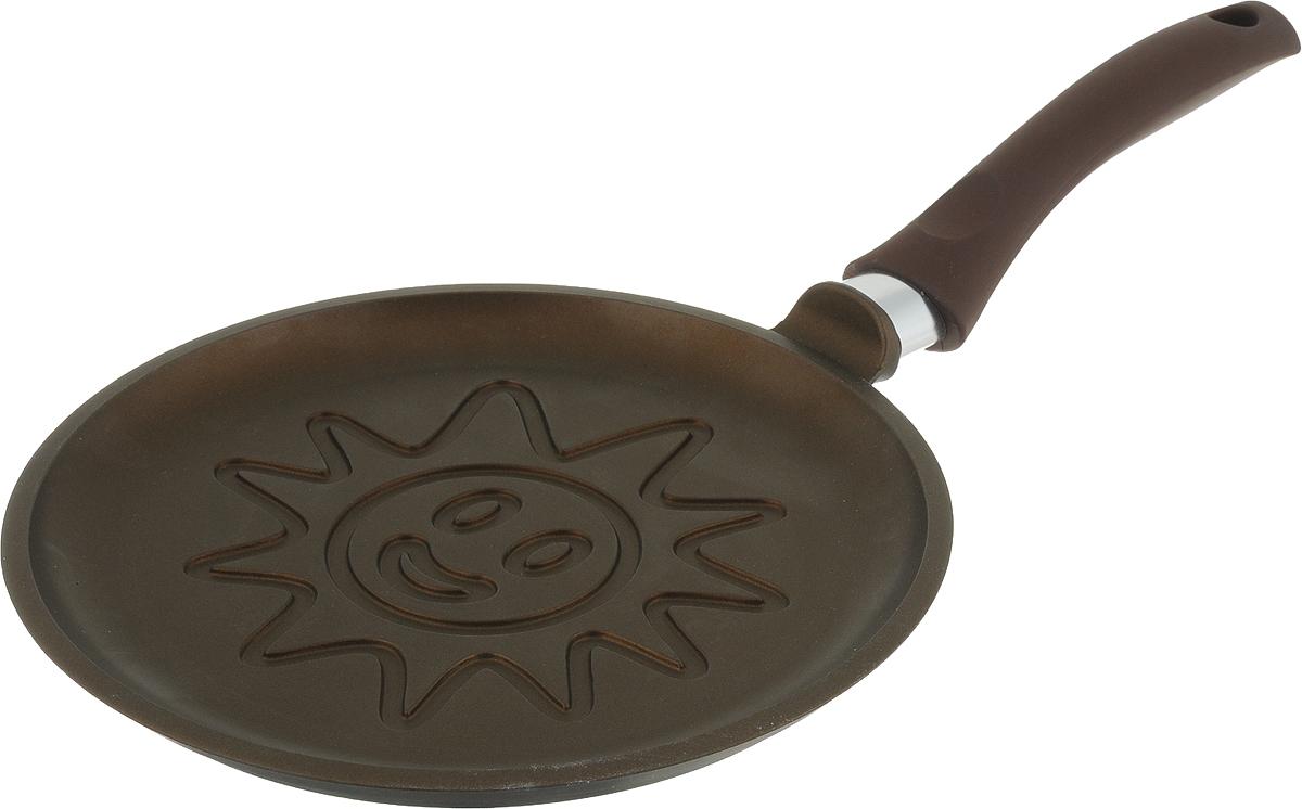 Сковорода блинная Нева Солнце, с антипригарным покрытием. Диаметр 24 см6224слPGСковорода Нева с антипригарным покрытием выполнена из алюминия. Толщина дна и высота бортов сковороды оптимальны для различных способов приготовления. Диаметр сковороды: 24 см.Блинная сковорода имеет низкий борт и удобную ручку, благодаря чему легко переворачивать и снимать блины. Утолщенное дно обеспечивает особые термоаккумулирующие свойства: блин равномерно пропекается по всей толщине и красиво румянится с обеих сторон. Благодаря антипригарному покрытию блины всегда легко снимаются со сковороды и не пригорают, даже при выпекании без использования масла.Дизайн корпуса сковороды разработан так, чтобы при выпекании не нарушалась целостность блина, и красиво румянился рисунок.