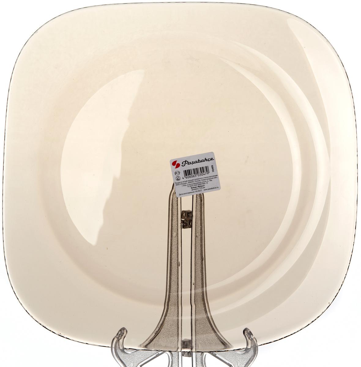 Блюдо Pasabahce Броунз, цвет: коричневый, диаметр 31 см10469SLBZTТарелка из закаленного стекла БРОУНЗ d=310 мм (прозрачное тонированное стекло)