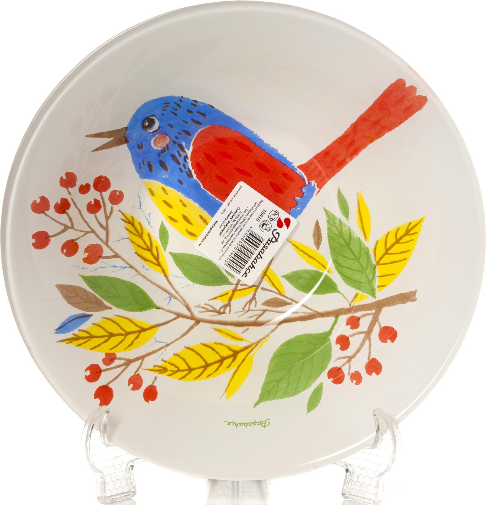 """Салатник Pasabahce """"Фейритейл"""" изготовлен из закаленного стекла и оформлен красочным изображением птицы на ветке. Такой салатник украсит сервировку вашего стола и подчеркнет прекрасный вкус хозяина, а также станет отличным подарком. Подходит для СВЧ- печей и посудомоечных машин."""
