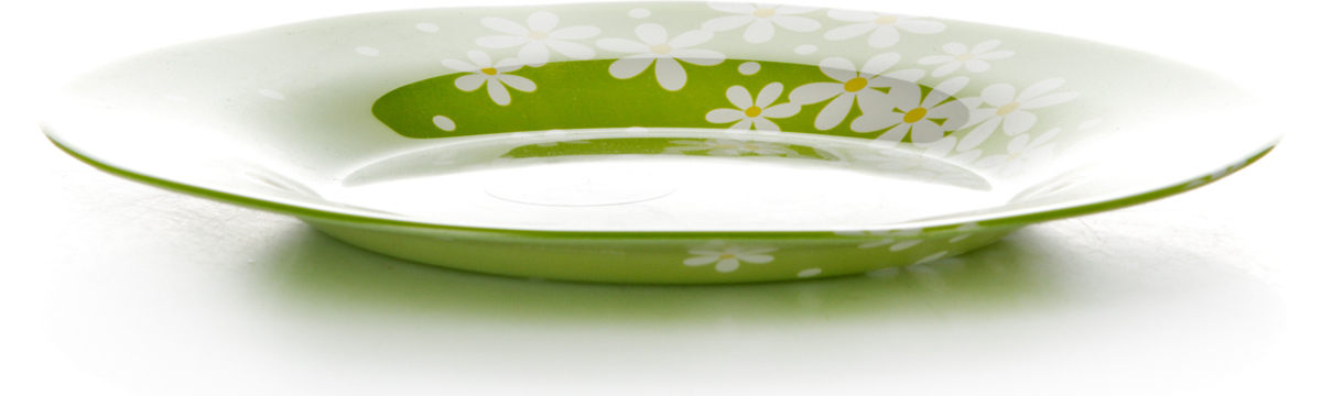 Тарелка Pasabahce Грин Гарден, цвет: салатовый, диаметр 19,5 см10327SLBD17Тарелка салатового цвета с рисунком - ромашки, d=195 мм, 195*195*17 мм