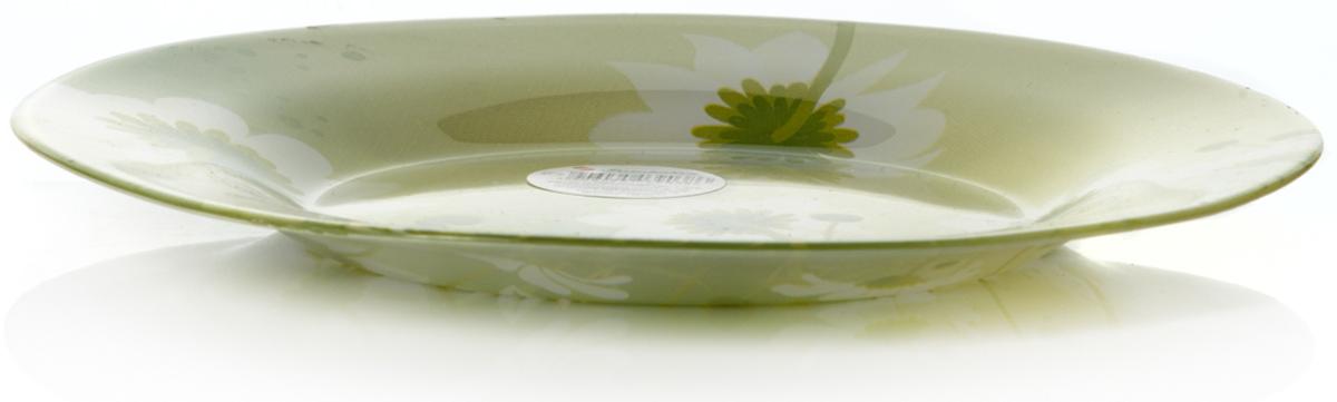Тарелка Pasabahce Камилла, цвет: салатовый, диаметр 19,5 см10327SLBD24Тарелка салатового цвета рисунок - ромашки, d= 195 мм, 195*195*15 мм