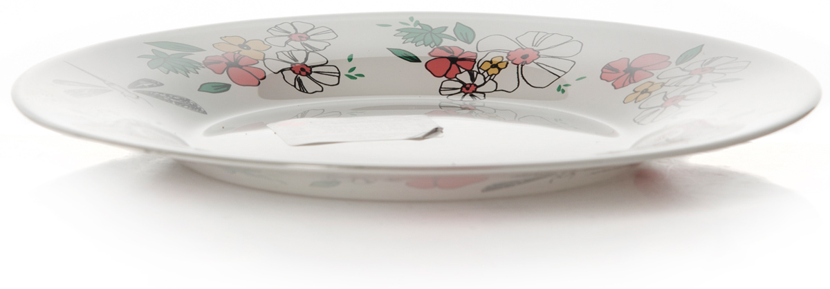 Тарелка Pasabahce Нейчер, цвет: белый, диаметр 19,5 см10327SLBD27Тарелка упроч. d=195 мм , рис.Цветочки/Стрекозы