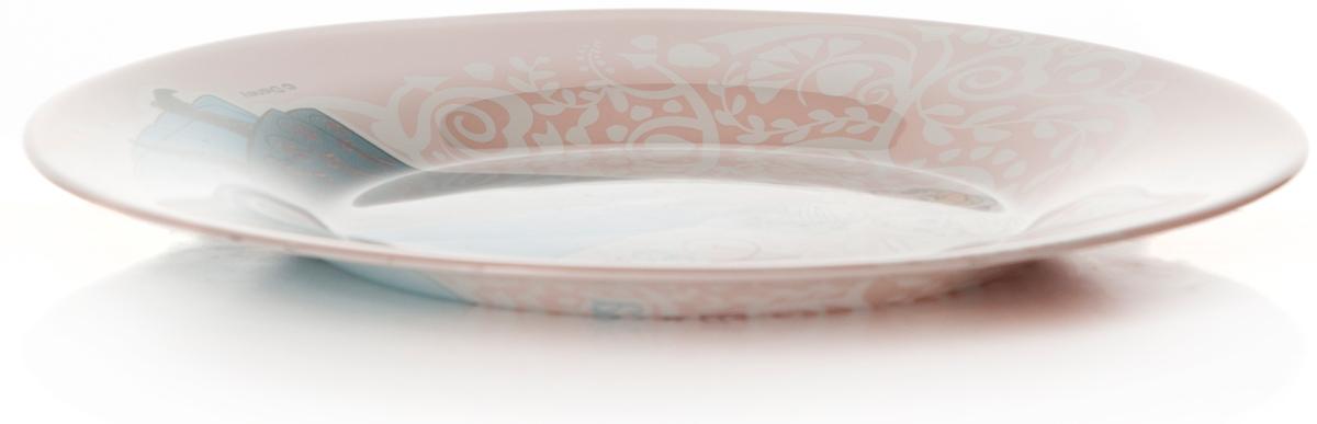 Тарелка Pasabahce Холодное Сердце, цвет: розовый, диаметр 19,5 см. 10327SLBD2910327SLBD29Тарелка d=195 мм, с деколью ХОЛОДНОЕ СЕРДЦЕ (Анна и Эльза)-на фоне узоры