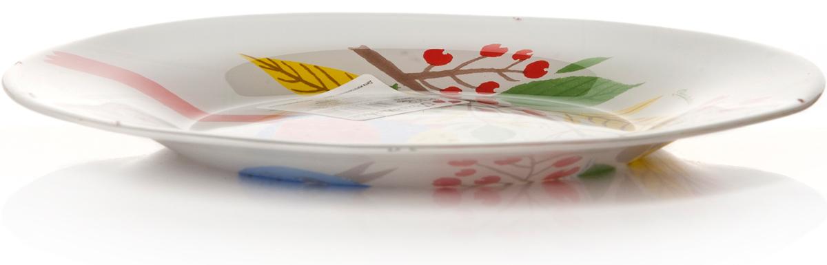 Тарелка Pasabahce Фейритейл, цвет: белый, диаметр 19,5 см10327SLBD30Тарелка из упрочненного стекла d=195 мм. рис.Птица на ветке рябины