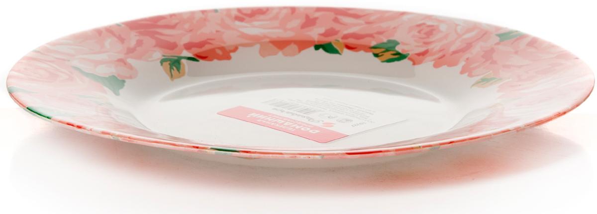 Тарелка Pasabahce Пионы. Домашний, цвет: белый, диаметр 19,5 см