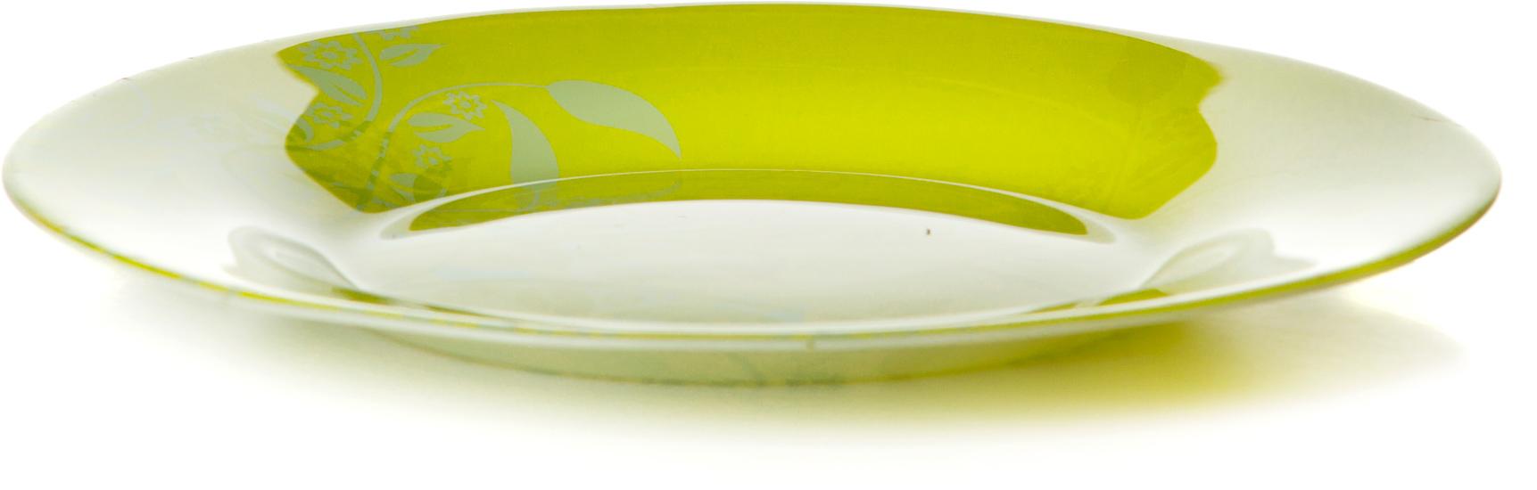 Тарелка Pasabahce Ясемин, цвет: зеленый, диаметр 19,5 см10327SLBYТарелка десертная из закал. стекла d=195 мм (ветки на зеленом фоне)