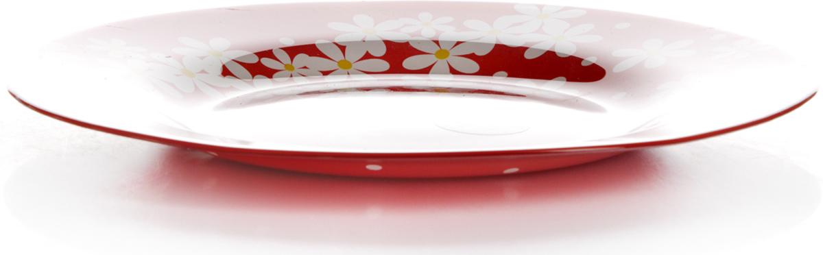 Тарелка Pasabahce Рэд гарден, цвет: красный, диаметр 26 см10328SLBD18Тарелка красного цвета с рисунком - ромашки, d=260 мм, 260*260*20 мм