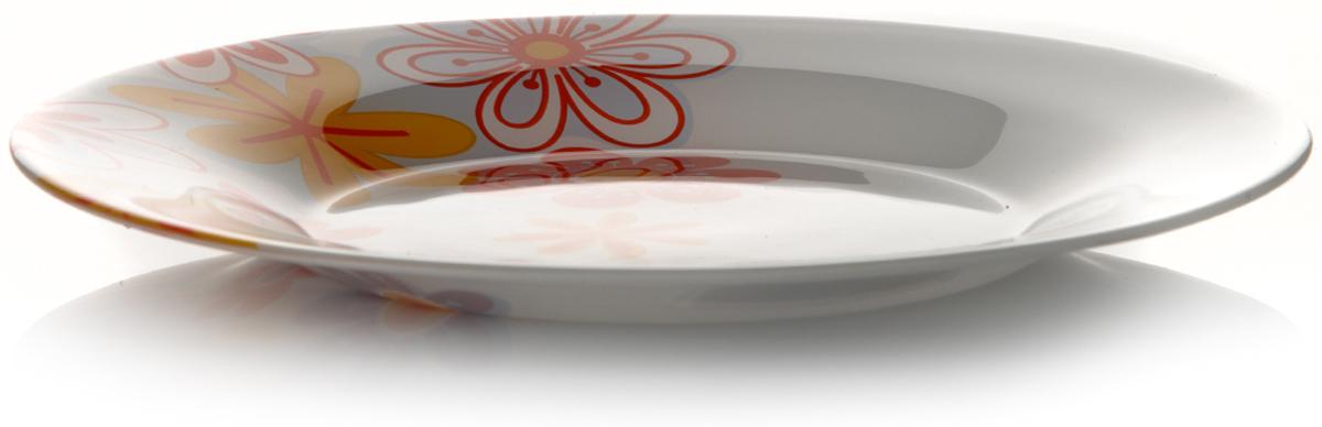 Тарелка Pasabahce Саммер, цвет: белый, диаметр 26 см10328SLBD5Тарелка из закаленного стекла SERENADE (САММЕР) 4 цвета d=260 мм