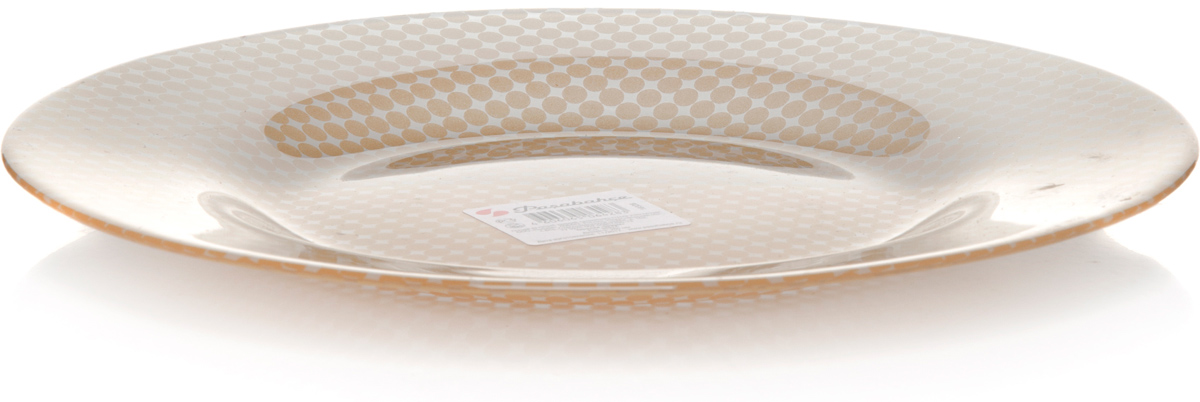 Тарелка Pasabahce Шарм, цвет: золотой, диаметр 26 см10328SLBD50Тарелка обеденная из упроч.стекла d=260 мм, с золотым рис.