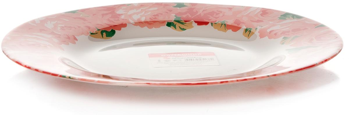 "Тарелка Pasabahce ""Пионы. Домашний"", цвет: белый, диаметр 26 см"