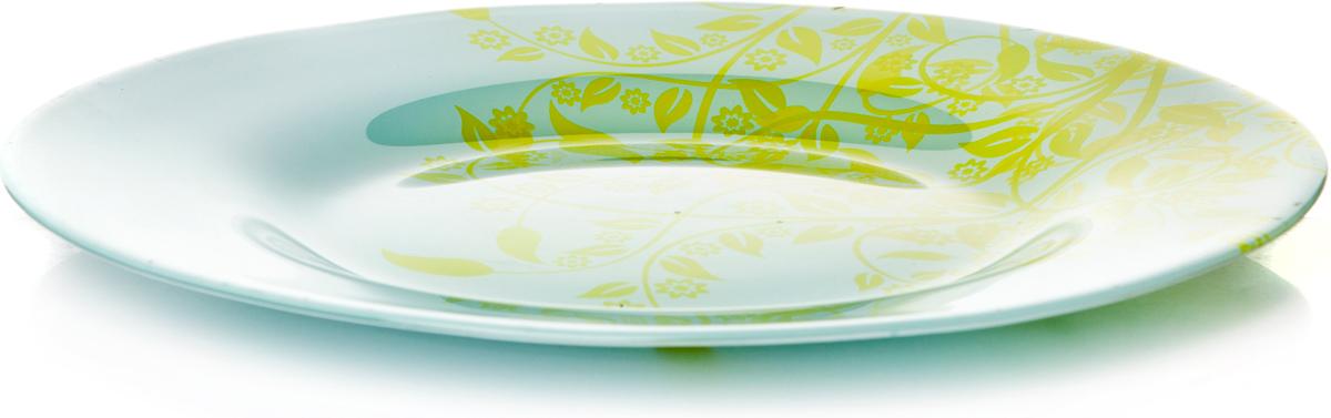 Тарелка обеденная из упрочн.стекла d=260 мм (ветки на зеленом фоне)