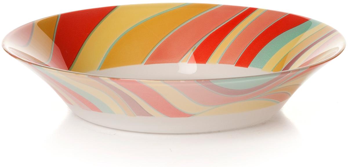 Тарелка глубокая Pasabahce Удовольствие. Домашний, цвет: белый, диаметр 22 см10335SLBD10Тарелка глубокая из упроч.стекла d=220 мм (по краю разноцв.полоски)
