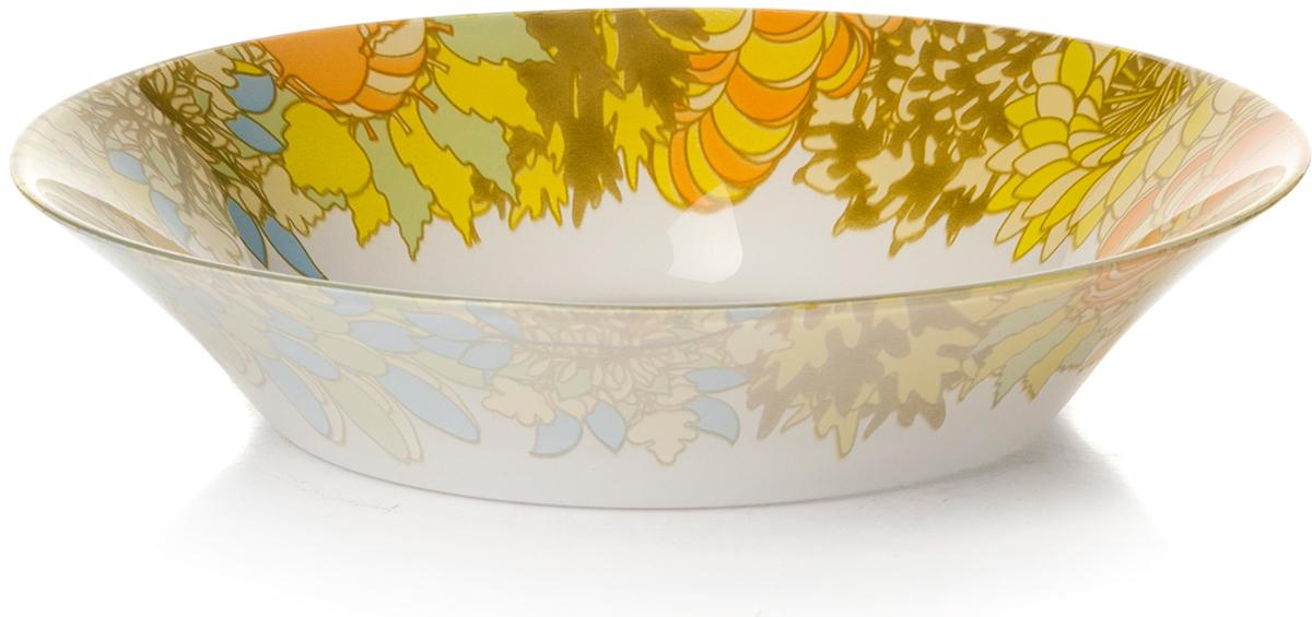 Тарелка глубокая Pasabahce Семья. Домашний, цвет: белый, диаметр 22 см10335SLBD7Тарелка глубокая из упроч.стекла d=220 мм (по краю рис.желтого цвета)