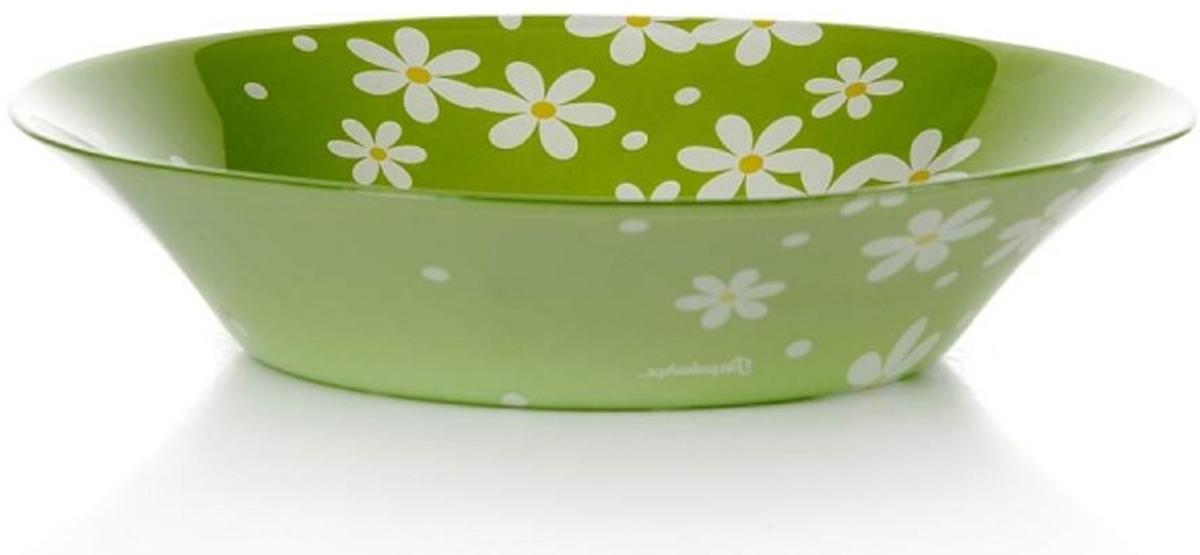 Тарелка глубокая Pasabahce Грин гарден, цвет: салатовый, диаметр 22 см10335SLBD17Тарелка салатового цвета с рисунком - ромашки, d=220 мм, 220*220*50 мм