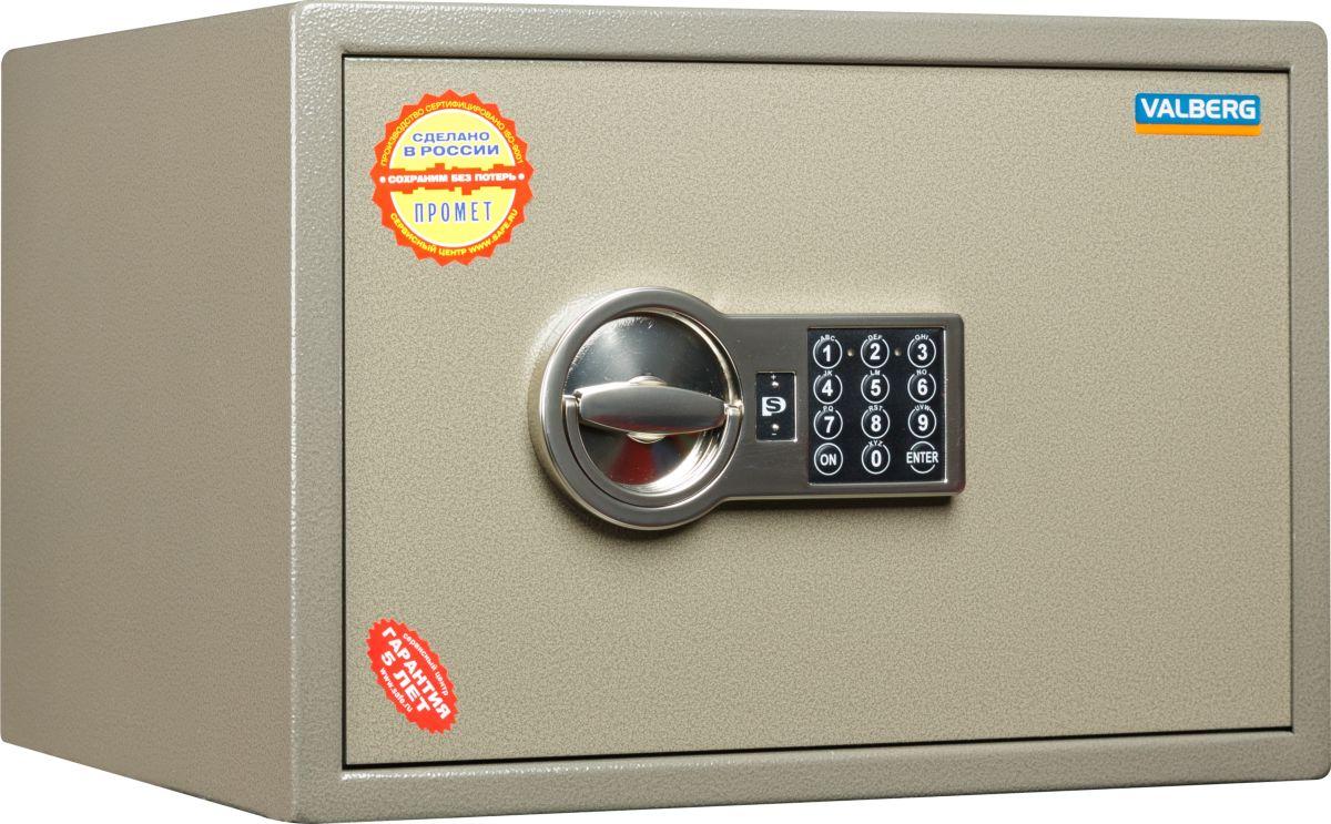 Сейф Valberg ASM.30-ELS10399030940Популярный вариант бюджетного сейфа, успешно выполняющего задачу охраны документов и умеренного количества денег от непрошеного внимания случайных посетителей вашего офиса. Также он годится для установки в квартире. Он прекрасно подойдёт вам, если ваша цель - приобрести качественный недорогой сейф для помещения, куда сложно проникнуть посторонним или где есть охрана. Valberg ASM-30 EL обладает сертификатом качества, соответствующим ГОСТ Р 55148-2012. Сейф запирается надёжным ригельным механизмом из двух горизонтальных ригелей (выдвигающихся стержней из прочного металла), который приводится в действие качественным электронным замком PS-300/E01. Замок защищён от подбора кода и сертифицирован по классу А (стандарты ГОСТ, ECB-S). Для кодирования используются комбинации из шести-восьми цифр. Питание осуществляется от батарейки 9В типа Крона; её разрядка на состоянии кода не отражается. Корпус собирается из двухмиллиметровых стальных листов; дверь усилена за счёт лицевой панели толщиной 5 мм. Также в неё вмонтирована специальная пластина из особого твёрдого сплава, чьё назначение – не допускать высверливания замка и повреждения ригелей.