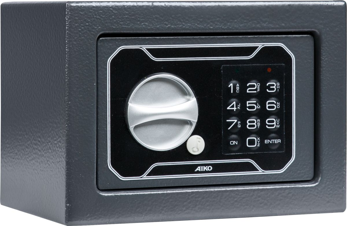 """Aiko """"T-140 EL"""" - недорогой мебельный сейф (Россия), используемый для хранения мелких ценных вещей и документации. Толщина лицевой панели - 2,8 мм. Толщина боковых стенок - 1,2 мм. Комплектуются электронным замком PLS-3 (ПРОМЕТ) + аварийный мастер-ключ. Предусмотрена возможность анкерного крепления к стене."""