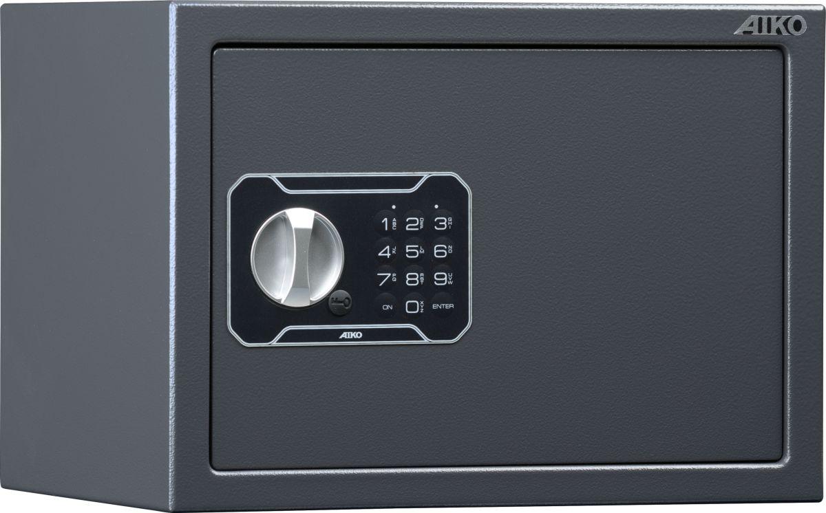 """Сейф Aiko """"T-250 EL"""" - усиленный металлический ящик для защиты от несанкционированного доступа к особо ценным вещам, оружию, документам.  Его прочная сварная конструкция из стали толщиной 1,2 мм с усиленной дверцей, толщина лицевой панели которой 2,8 мм, запирающейся  кодовым электронным замком PLS-3 (Россия) с защитой от подбора кода и функцией аварийного открывания с помощью мастер-ключа -  прослужит вам очень долго. Замок работает с кодовыми комбинациями из 4-6 цифр, его питание осуществляется от  батареек класса Корона (9В, класс 6LF22). В зависимости от интенсивности эксплуатации, заряда заменяемых элементов питания хватает, примерно, на год-полтора.  Встроенная индикация сигнализирует о падении напряжения в рабочей системе.  Доступ к батарейкам осуществляется с наружной стороны дверцы. Память замка не зависти от заряда батареи и рабочий код не сбрасывается.  Поверхность сейфа покрыта износостойким порошковым покрытием. Так же, конструкционно предусмотрена возможность анкерного крепления сейфа к стене.   Сейфы линии Aiko целиком отвечают требованиям МВД РФ к хранению короткоствольного оружия и сертифицированы на устойчивость к взлому по стандарту ГОСТ Р 50862-2005."""