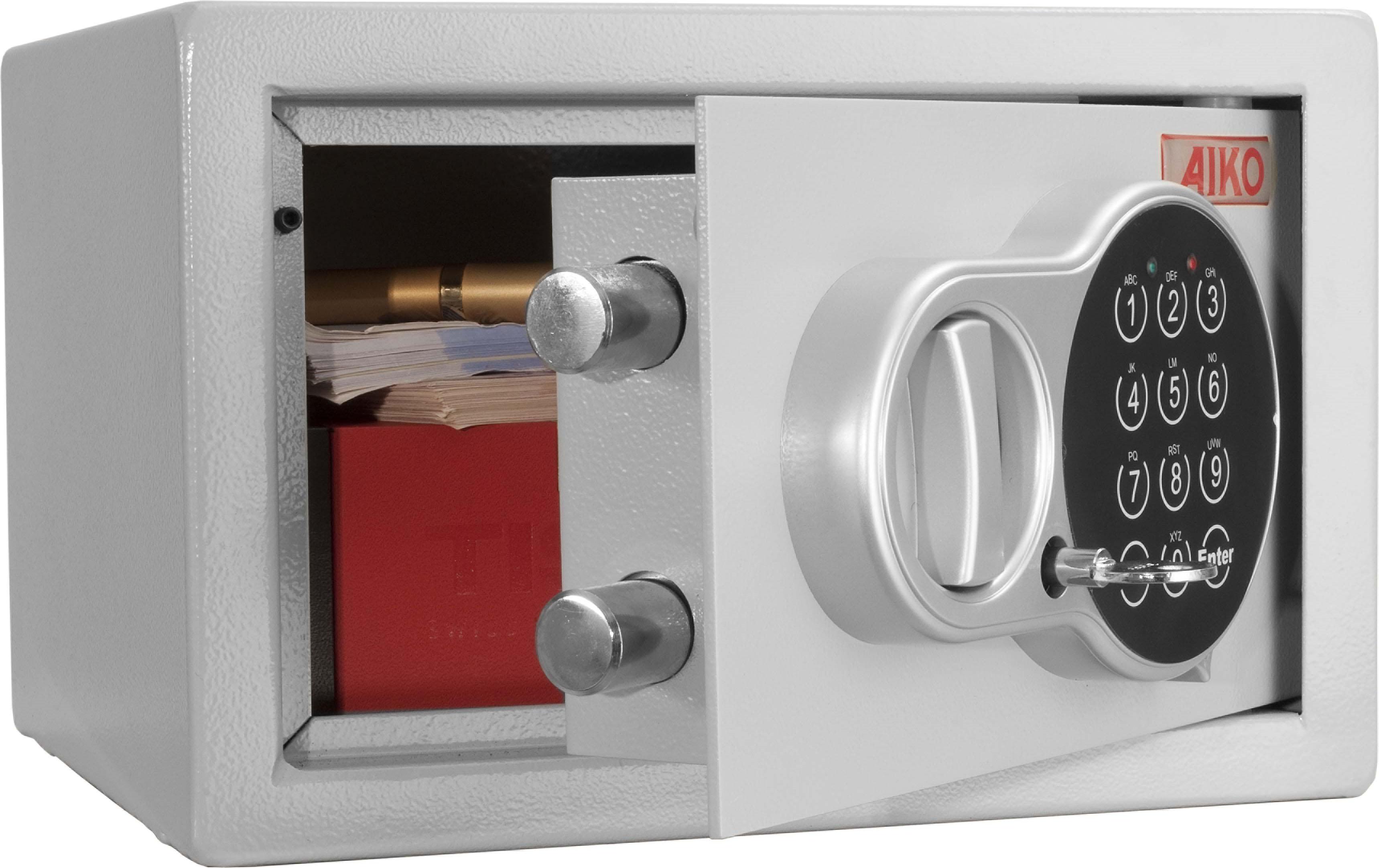 Сейф Aiko T-17.ELS10399250414Это компактный усиленный металлический сейф, рассчитанный на хранение документации, печатей, некрупных сумм денег, травматическогооружия и прочих вещей, доступ к которым желательно ограничить. Сейфы линии Aiko целиком отвечают требованиям МВД РФ к хранению короткоствольного оружия и сертифицированы на устойчивость к взломупо стандарту ГОСТ Р 50862-2005.Aiko T-17.EL - усиленный металлический ящик для защиты от несанкционированного доступа. Подходит для хранения документов, небольшихличных вещей и пр. Его прочная сварная конструкция из стали толщиной 1,2 мм с усиленной дверцей, толщина лицевой панели которой 2,8 мм, запирающейсякодовым электронным замком PLS-1 (Россия) с защитой от подбора кода и функцией аварийного открывания с помощью мастер-ключа -прослужит вам очень долго. Замок работает с кодовыми комбинациями из 4-6 цифр, его питание осуществляется от четырех батареек класса ААА на 1,5В. В зависимостиот интенсивности эксплуатации, заряда хватает, примерно, на год-полтора. Встроенная индикация сигнализирует о падении напряжения врабочей системе. Доступ к батарейкам осуществляется с наружной стороны дверцы. Память замка не зависти от заряда батареи и рабочийкод не сбрасывается. Поверхность сейфа покрыта износостойким порошковым покрытием. Так же, конструкционно предусмотрена возможность анкерного креплениясейфа к стене.