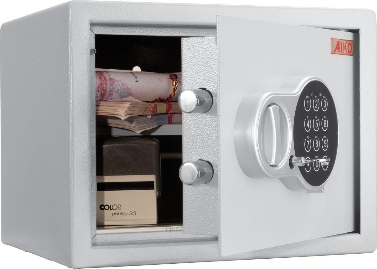 Сейф Aiko T-23.ELS10399260414Сейф мебельный с электронным замком, предназначенный для хранения мелких ценностей, небольших денежных сумм, документации, ценных бумаг и личного оружия. Устойчивость к взлому - ГОСТ Р 50862-2005, класс Н0. Толщина лицевой панели - 2.8 мм, толщина боковых стенок - 1.5 мм. Двухригельная система запирания. Защита замка от высверливания. Предусмотрено анкерное крепление к полу и стене.