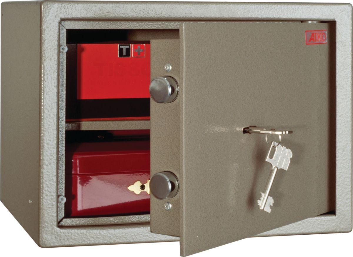 """Сейф Aiko """"TM.25"""" - усиленный металлический мебельный сейф для защиты от несанкционированного доступа к особо ценным вещам, оружию, документам. Его прочная сварная конструкция из стали с усиленной дверцей, толщина лицевой панели которой 5 мм, запирающейся  ключевым замком - прослужит вам очень долго.  Поверхность сейфа покрыта износостойким порошковым покрытием. Так же, конструкционно предусмотрена возможность анкерного крепления сейфа к стене.   Сейфы линии Aiko целиком отвечают требованиям МВД РФ к хранению короткоствольного оружия и сертифицированы на устойчивость к взлому по стандарту ГОСТ Р 50862-2005."""