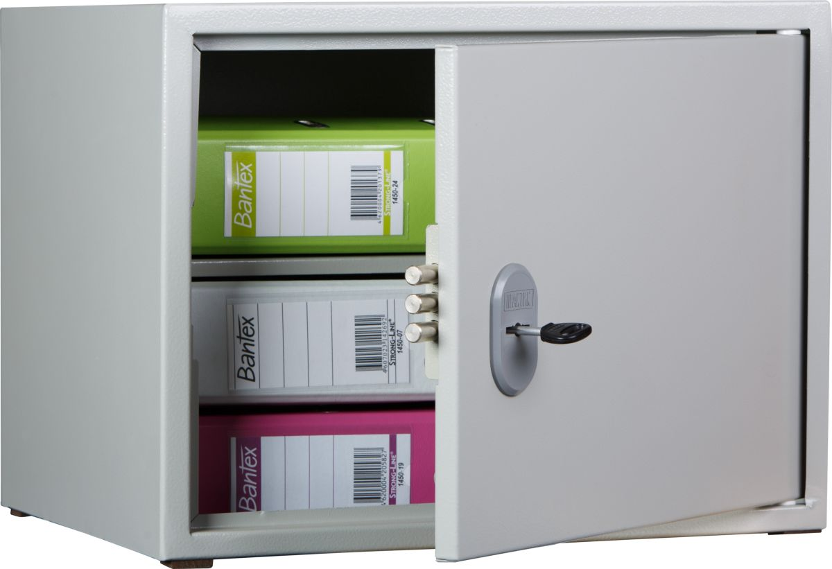 Предназначен для хранения документов в офисе.  Сварная конструкция из стали 1.2 мм.  Закрытая внутренняя панель двери.  Комплектуются ключевыми замками Практик.  Поставляются в собранном виде. Опция: дополнительные полки.