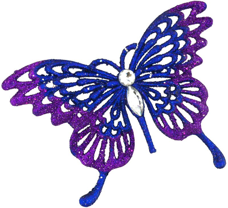 Изящная, практически невесомая бабочка выполнена в насыщенно-фиолетовом цвете. Туловище бабочки декорировано стразами, а кончики крыльев усыпаны сверкающими блестками. Новогодние украшения всегда несут в себе волшебство и красоту праздника. Создайте в своем доме атмосферу тепла, веселья и радости, украшая его всей семьей.