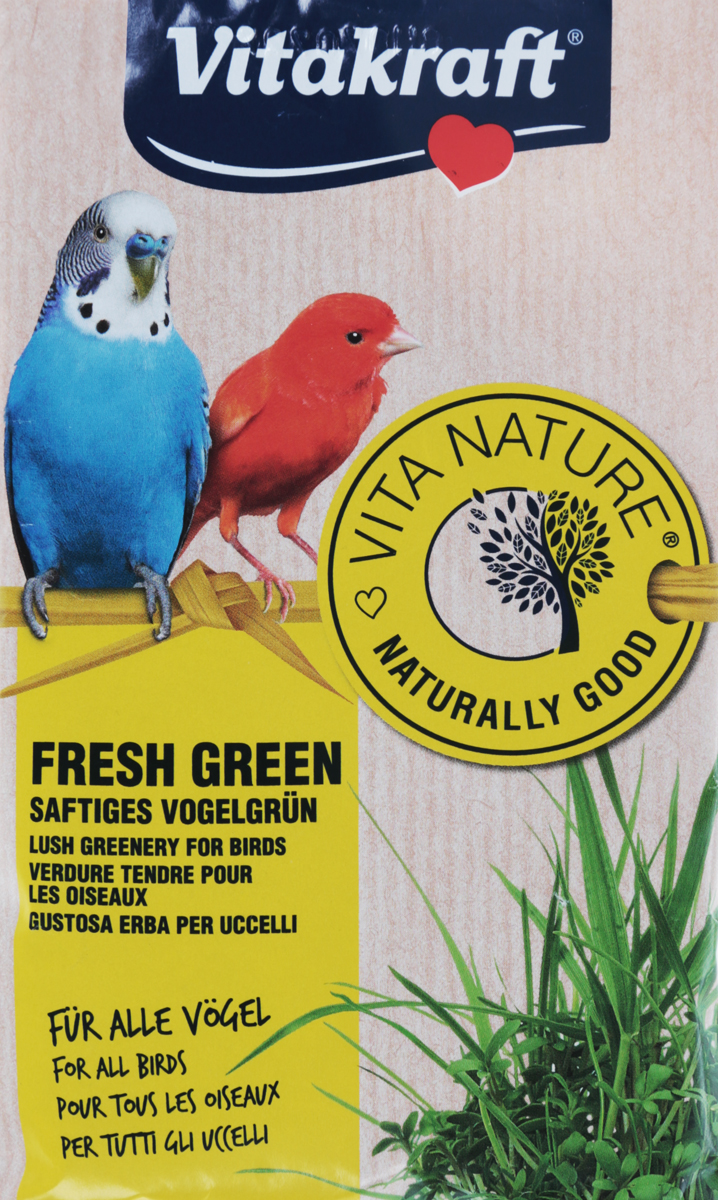 Смесь для проращивания свежей травы Vitakraft, для волнистых попугаев и канареек, 40 г21122Смесь семян для проращивания свежей травы для декоративных птиц. Свежая трава богата витаминами и минералами. Является ценным дополнением к основному питанию. Доступна в любой сезон.