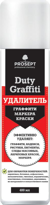 Специальное чистящее средство Prosept Duty Graffiti, для удаления граффити, маркера, краски, 0,4 л153-04Нейтральное чистящее средство на основе биоорганических растворителей. Очищает аэрозольную краску и следы маркера с различных типов твердых поверхностей. Применяется для устранения следов вандализма - уличного раскрашивания стен, тротуаров и тротуарной плитки, осквернения памятников. Товар сертифицирован.