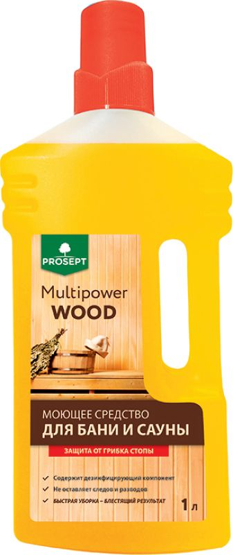 Моющее средство для бани и сауны Prosept Multipower Wood, 1 л
