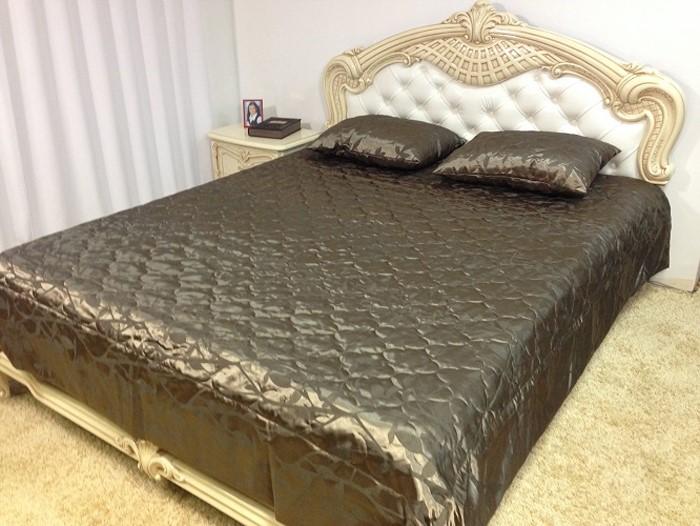 Комплект для спальни МарТекс Веточка: покрывало 240 х 260 см, 2 наволочки 50 х 70 см, цвет: шоколадный. 05-0365-405-0365-4Комплект покрывало стег. Веточка шокол. с навол. 240 х 260, 50 х 70. Жаккард
