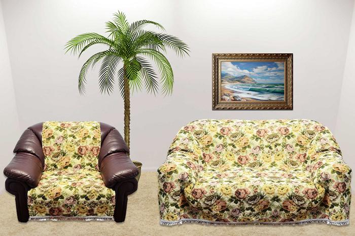 Набор чехлов для дивана и кресел МарТекс, 3 предмета. 05-043605-0436Гобеленовые полотна для покрывал изготавливаются из качественного хлопка, с добавлением полиэстера. Ткань очень плотная, прочная, отлично сохраняет форму и в то же время мягкая и приятная на ощупь. Пестрый рисунок достигается путем переплетения нитей разных цветов, а не путем окрашивания готового полотна.Состав гобелена для повышения износостойких качеств производители добавляют до 50% полиэстера. Достоинства:- экологичность. Преобладание натуральных волокон в составе гобеленового полотна позволяет обеспечить покрывалу хорошую воздухопроницаемость, гигроскопичность и достойные гигиенические свойства. - простота ухода. Покрывало не требует частых стирок, не боится солнечного света, не выцветает и не линяет;- не требует подкладки и уплотнителя. Ткань сама по себе достаточно жесткая, хорошо держит форму и помогает сгладить неровности;- износостойкость. Долговечность обеспечивает особая техника плетения нитей, а добавление синтетических волокон помогает увеличить срок службы изделия.Покрывала из гобелена благодаря своей пестроте материал сам по себе не нуждается в частой стирке.Состав: 50%хлопок, 50% полиэстер, Уход: стирка 30градусов в деликатном режиме, глажка в режиме хлопка.