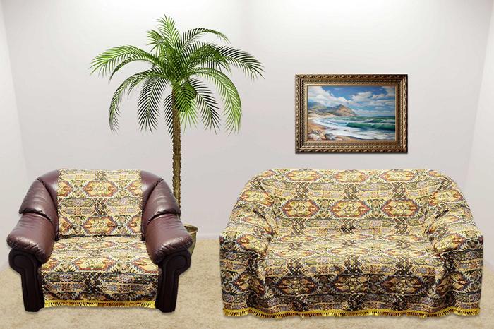 Набор чехлов для дивана и кресел МарТекс, 3 предмета. 05-043705-0437Гобеленовые полотна для покрывал изготавливаются из качественного хлопка, с добавлением полиэстера. Ткань очень плотная, прочная, отлично сохраняет форму и в то же время мягкая и приятная на ощупь. Пестрый рисунок достигается путем переплетения нитей разных цветов, а не путем окрашивания готового полотна.Состав гобелена для повышения износостойких качеств производители добавляют до 50% полиэстера. Достоинства:- экологичность. Преобладание натуральных волокон в составе гобеленового полотна позволяет обеспечить покрывалу хорошую воздухопроницаемость, гигроскопичность и достойные гигиенические свойства. - простота ухода. Покрывало не требует частых стирок, не боится солнечного света, не выцветает и не линяет;- не требует подкладки и уплотнителя. Ткань сама по себе достаточно жесткая, хорошо держит форму и помогает сгладить неровности;- износостойкость. Долговечность обеспечивает особая техника плетения нитей, а добавление синтетических волокон помогает увеличить срок службы изделия.Покрывала из гобелена благодаря своей пестроте материал сам по себе не нуждается в частой стирке.Состав: 50%хлопок, 50% полиэстер, Уход: стирка 30градусов в деликатном режиме, глажка в режиме хлопка.