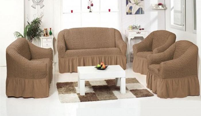 Набор чехлов МарТекс, для трехместного дивана и 2 кресел, цвет: бежевый. 05-0450-305-0450-3Комплект чехлов для мебели из эластичной ткани с эффектом жатка выполнен из высококачественного полиэстера и хлопка с красивым рельефом. Предназначен для мягкой мебели стандартного размера со спинкой высотой в 140 см. Такие чехлы изысканно дополнят интерьер вашего дома. Изделие прорезинено со всех сторон и оснащено закрывающей оборкой. Набор чехлов для мягкой мебели придаст вашей мебели новый внешний вид. Каждый элемент интерьера нуждается в уходе и защите. В большинстве случаев потертости появляются на диванах и креслах. В набор входят чехол для трехместного дивана и два чехла для кресла. Чехлы изготовлены из 60% полиэстера и 40% хлопка. Такой материал прекрасно переносит нагрузки, долго не стареет и его просто очистить от грязи.Набор чехлов создан для тех, кто не планирует покупать новую мебель каждый год. Чехлы можно постирать в стиральной машине на деликатном режиме стирки. Он идеально подойдет для тех, кто хочет защитить свою мебель от постоянных воздействий. Этот чехол, благодаря прочности ткани, станет идеальным решением для владельцев домашних животных. Кроме того, состав ткани гипоаллергенен, а потому безопасен для малышей или людей пожилого возраста. Такой чехол отлично впишется в любой интерьер. Чехол послужит не только практичной защитой для вашей мебели, но и обновит интерьер без лишних затрат.