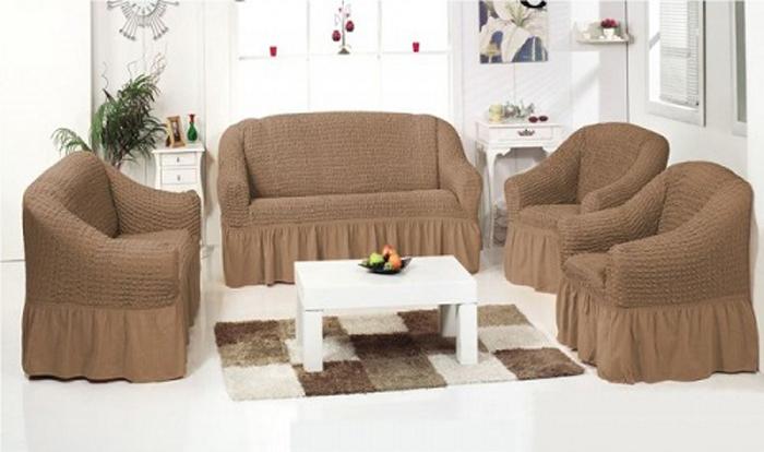 Чехол для трехместного дивана МарТекс, цвет: бежевый. 05-0451-305-0451-3Комплект чехлов для мебели из эластичной ткани с эффектом жатка, выполнен из высококачественного полиэстера и хлопка с красивым рельефом. Предназначен для мягкой мебели стандартного размера со спинкой высотой в 140 см. Такие чехолы изысканно дополнят интерьер вашего дома. Изделие прорезинено со всех сторон и оснащено закрывающей оборкой. Набор чехлов для мягкой мебели придаст вашей мебели новый внешний вид. Каждый элемент интерьера нуждается в уходе и защите. В большинстве случаев потертости появляются на диванах и креслах. В набор входит чехол для трехместного дивана и два чехла для кресла. Чехлы изготовлены из 60% полиэстера и 40% хлопка. Такой материал прекрасно переносит нагрузки, долго не стареет и его просто очистить от грязи.Набор чехлов создан для тех, кто не планирует покупать новую мебель каждый год. Чехлы можно постирать в стиральной машине на деликатном режиме стирки. Он идеально подойдет для тех, кто хочет защитить свою мебель от постоянных воздействий. Этот чехол, благодаря прочности ткани, станет идеальным решением для владельцев домашних животных. Кроме того, состав ткани гипоаллергенен, а потому безопасен для малышей или людей пожилого возраста. Такой чехол отлично впишется в любой интерьер. Чехол послужит не только практичной защитой для вашей мебели, но и обновит интерьер без лишних затрат.