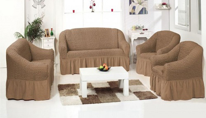 Чехол для 2 кресел МарТекс, цвет: бежевый. 05-0452-305-0452-3Комплект чехлов для мебели из эластичной ткани с эффектом жатка, выполнен из высококачественного полиэстера и хлопка с красивым рельефом. Предназначен для мягкой мебели стандартного размера со спинкой высотой в 140 см. Такие чехолы изысканно дополнят интерьер вашего дома. Изделие прорезинено со всех сторон и оснащено закрывающей оборкой. Набор чехлов для мягкой мебели придаст вашей мебели новый внешний вид. Каждый элемент интерьера нуждается в уходе и защите. В большинстве случаев потертости появляются на диванах и креслах. В набор входит чехол для трехместного дивана и два чехла для кресла. Чехлы изготовлены из 60% полиэстера и 40% хлопка. Такой материал прекрасно переносит нагрузки, долго не стареет и его просто очистить от грязи.Набор чехлов создан для тех, кто не планирует покупать новую мебель каждый год. Чехлы можно постирать в стиральной машине на деликатном режиме стирки. Он идеально подойдет для тех, кто хочет защитить свою мебель от постоянных воздействий. Этот чехол, благодаря прочности ткани, станет идеальным решением для владельцев домашних животных. Кроме того, состав ткани гипоаллергенен, а потому безопасен для малышей или людей пожилого возраста. Такой чехол отлично впишется в любой интерьер. Чехол послужит не только практичной защитой для вашей мебели, но и обновит интерьер без лишних затрат.