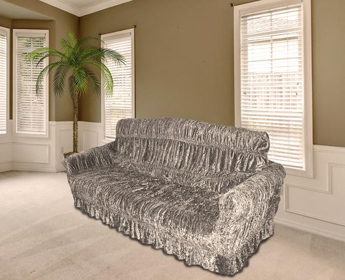 Чехол на мебель МарТекс, для трехместного дивана и 2 кресел, цвет: серый. 05-0468-305-0468-3Комплект чехлов для мебели из эластичной ткани с эффектом жатка, выполнен из высококачественного полиэстера и хлопка с красивым рельефом. Предназначен для мягкой мебели стандартного размера со спинкой высотой в 140 см. Такие чехолы изысканно дополнят интерьер вашего дома. Изделие прорезинено со всех сторон и оснащено закрывающей оборкой. Набор чехлов для мягкой мебели придаст вашей мебели новый внешний вид. Каждый элемент интерьера нуждается в уходе и защите. В большинстве случаев потертости появляются на диванах и креслах. В набор входит чехол для трехместного дивана и два чехла для кресла. Чехлы изготовлены из 60% полиэстера и 40% хлопка. Такой материал прекрасно переносит нагрузки, долго не стареет и его просто очистить от грязи. Набор чехлов создан для тех, кто не планирует покупать новую мебель каждый год. Чехлы можно постирать в стиральной машине на деликатном режиме стирки. Он идеально подойдет для тех, кто хочет защитить свою мебель от постоянных воздействий. Этот чехол, благодаря прочности ткани, станет идеальным решением для владельцев домашних животных. Кроме того, состав ткани гипоаллергенен, а потому безопасен для малышей или людей пожилого возраста. Такой чехол отлично впишется в любой интерьер. Чехол послужит не только практичной защитой для вашей мебели, но и обновит интерьер без лишних затрат.