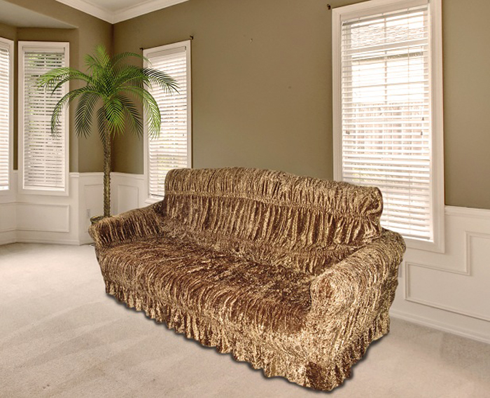 """Комплект чехлов для мебели из эластичной ткани с эффектом """"жатка"""", выполнен из высококачественного полиэстера и хлопка с красивым рельефом. Предназначен для мягкой мебели стандартного размера со спинкой высотой в 140 см. Такие чехлы изысканно дополнят интерьер вашего дома. Изделие прорезинено со всех сторон и оснащено закрывающей оборкой. Набор чехлов для мягкой мебели придаст вашей мебели новый внешний вид. Каждый элемент интерьера нуждается в уходе и защите. В большинстве случаев потертости появляются на диванах и креслах. В набор входит чехол для трехместного дивана и два чехла для кресла. Чехлы изготовлены из 60% полиэстера и 40% хлопка. Такой материал прекрасно переносит нагрузки, долго не стареет и его просто очистить от грязи.  Набор чехлов создан для тех, кто не планирует покупать новую мебель каждый год. Чехлы можно постирать в стиральной машине на деликатном режиме стирки. Он идеально подойдет для тех, кто хочет защитить свою мебель от постоянных воздействий. Этот чехол, благодаря прочности ткани, станет идеальным решением для владельцев домашних животных. Кроме того, состав ткани гипоаллергенен, а потому безопасен для малышей или людей пожилого возраста. Такой чехол отлично впишется в любой интерьер. Чехол послужит не только практичной защитой для вашей мебели, но и обновит интерьер без лишних затрат.  ДИВАН, размеры:  Ширина посадочного места : 140-210 см.     Ширина подлокотников : 25-35 см.    Глубина посадочного места : 70-80 см.    Высота юбки: 35-45 см. Высота спинки: 80-90 см.  КРЕСЛО, 2шт,  размеры: Ширина посадочного места: 70-80 см.     Ширина подлокотников: 25-35  см.         Глубина посадочного места: 70-80 см.   Высота юбки: 35-45 см. Высота спинки: 80-90 см."""