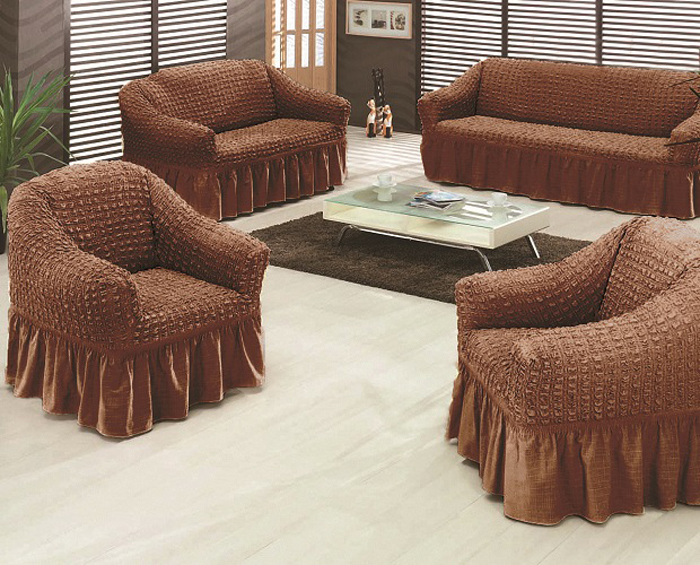 Чехол на мебель МарТекс, для трехместного дивана и 2 кресел, цвет: темно-коричневый. 05-0470-305-0470-3Комплект чехлов для мебели из эластичной ткани с эффектом жатка, выполнен из высококачественного полиэстера и хлопка с красивым рельефом. Предназначен для мягкой мебели стандартного размера со спинкой высотой в 140 см. Такие чехлы изысканно дополнят интерьер вашего дома. Изделие прорезинено со всех сторон и оснащено закрывающей оборкой. Набор чехлов для мягкой мебели придаст вашей мебели новый внешний вид. Каждый элемент интерьера нуждается в уходе и защите. В большинстве случаев потертости появляются на диванах и креслах. В набор входит чехол для трехместного дивана и два чехла для кресла. Чехлы изготовлены из 60% полиэстера и 40% хлопка. Такой материал прекрасно переносит нагрузки, долго не стареет и его просто очистить от грязи.Набор чехлов создан для тех, кто не планирует покупать новую мебель каждый год. Чехлы можно постирать в стиральной машине на деликатном режиме стирки. Он идеально подойдет для тех, кто хочет защитить свою мебель от постоянных воздействий. Этот чехол, благодаря прочности ткани, станет идеальным решением для владельцев домашних животных. Кроме того, состав ткани гипоаллергенен, а потому безопасен для малышей или людей пожилого возраста. Такой чехол отлично впишется в любой интерьер. Чехол послужит не только практичной защитой для вашей мебели, но и обновит интерьер без лишних затрат.ДИВАН, размеры:Ширина посадочного места : 140-210 см. Ширина подлокотников : 25-35 см.Глубина посадочного места : 70-80 см.Высота юбки: 35-45 см. Высота спинки: 80-90 см.КРЕСЛО, 2шт,размеры: Ширина посадочного места: 70-80 см. Ширина подлокотников: 25-35см. Глубина посадочного места: 70-80 см. Высота юбки: 35-45 см. Высота спинки: 80-90 см.