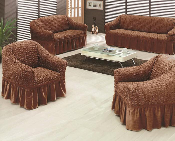 """Комплект чехлов для мебели """"МарТекс"""" из эластичной ткани с эффектом """"жатка"""", выполнен из высококачественного полиэстера и хлопка с красивым рельефом. Предназначен для мягкой мебели стандартного размера со спинкой высотой в 140 см. Такие чехлы изысканно дополнят интерьер вашего дома. Изделие прорезинено со всех сторон и оснащено закрывающей оборкой. Набор чехлов для мягкой мебели придаст вашей мебели новый внешний вид. Каждый элемент интерьера нуждается в уходе и защите. В большинстве случаев потертости появляются на диванах и креслах. В набор входит чехол для трехместного дивана и два чехла для кресла. Чехлы изготовлены из 60% полиэстера и 40% хлопка. Такой материал прекрасно переносит нагрузки, долго не стареет и его просто очистить от грязи.  Набор чехлов создан для тех, кто не планирует покупать новую мебель каждый год. Чехлы можно постирать в стиральной машине на деликатном режиме стирки. Он идеально подойдет для тех, кто хочет защитить свою мебель от постоянных воздействий. Этот чехол, благодаря прочности ткани, станет идеальным решением для владельцев домашних животных. Кроме того, состав ткани гипоаллергенен, а потому безопасен для малышей или людей пожилого возраста. Такой чехол отлично впишется в любой интерьер. Чехол послужит не только практичной защитой для вашей мебели, но и обновит интерьер без лишних затрат.  Диван, размеры:  Ширина посадочного места : 140-210 см.     Ширина подлокотников : 25-35 см.    Глубина посадочного места : 70-80 см.    Высота юбки: 35-45 см. Высота спинки: 80-90 см."""