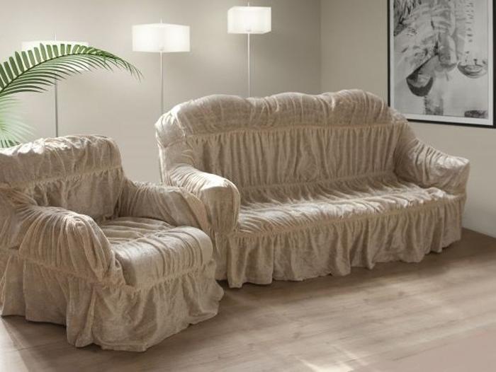 Набор чехлов МарТекс, для трехместного дивана и 2 кресел, цвет: молочный. 05-0492-305-0492-3Комплект чехлов для мебели из эластичной ткани с эффектом жатка, выполнен из высококачественного полиэстера и хлопка с красивым рельефом. Предназначен для мягкой мебели стандартного размера со спинкой высотой в 140 см. Такие чехолы изысканно дополнят интерьер вашего дома. Изделие прорезинено со всех сторон и оснащено закрывающей оборкой. Набор чехлов для мягкой мебели придаст вашей мебели новый внешний вид. Каждый элемент интерьера нуждается в уходе и защите. В большинстве случаев потертости появляются на диванах и креслах. В набор входит чехол для трехместного дивана и два чехла для кресла. Чехлы изготовлены из 60% полиэстера и 40% хлопка. Такой материал прекрасно переносит нагрузки, долго не стареет и его просто очистить от грязи. Набор чехлов создан для тех, кто не планирует покупать новую мебель каждый год. Чехлы можно постирать в стиральной машине на деликатном режиме стирки. Он идеально подойдет для тех, кто хочет защитить свою мебель от постоянных воздействий. Этот чехол, благодаря прочности ткани, станет идеальным решением для владельцев домашних животных. Кроме того, состав ткани гипоаллергенен, а потому безопасен для малышей или людей пожилого возраста. Такой чехол отлично впишется в любой интерьер. Чехол послужит не только практичной защитой для вашей мебели, но и обновит интерьер без лишних затрат.