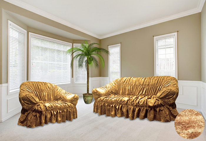 Набор чехлов МарТекс, для трехместного дивана и 2 кресел, цвет: золотистый, бежевый. 05-0568-305-0568-3Комплект чехлов для мебели из велюровой ткани, выполнен из высококачественного полиэстера с эффектом мерцания. Предназначен для мягкой мебели стандартного размера со спинкой высотой до 140 см. Такие чехолы изысканно дополнят интерьер вашего дома. Изделие продублировно широкой резинкой со всех сторон и оснащено закрывающей оборкой. Набор чехлов для мягкой мебели придаст вашей мебели новый внешний вид. Каждый элемент интерьера нуждается в уходе и защите. В большинстве случаев потертости появляются на диванах и креслах. В набор входит чехол для трехместного дивана и два чехла для кресла. Чехлы изготовлены из 100% полиэстера. Такой материал прекрасно переносит нагрузки, долго не стареет и его просто очистить от грязи.Набор чехлов создан для тех, кто не планирует покупать новую мебель каждый год. Чехлы можно постирать в стиральной машине при деликатном режиме стирки. Он идеально подойдет для тех, кто хочет защитить свою мебель от постоянных воздействий. Этот чехол, благодаря прочности ткани, станет идеальным решением для владельцев домашних животных. Кроме того, состав ткани гипоаллергенен, а потому безопасен для малышей или людей пожилого возраста. Такой чехол отлично впишется в любой интерьер. Чехол послужит не только практичной защитой для вашей мебели, но и обновит интерьер без лишних затрат.