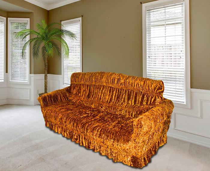 Чехол на мебель МарТекс, для трехместного дивана и 2 кресел, цвет: медовый. 05-0576-3 набор чехлов для мягкой мебели 3 предмета every 1799 char009
